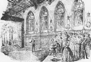 Imagen en la que se ilustra a John Banvard presentando su obra a la reina Victoria en el castillo de Windsor