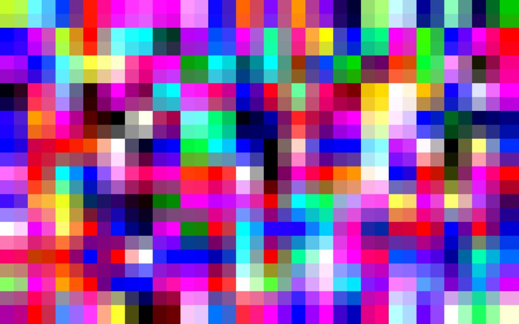 a matrix of colourful computer pixels from a vibrant pattern