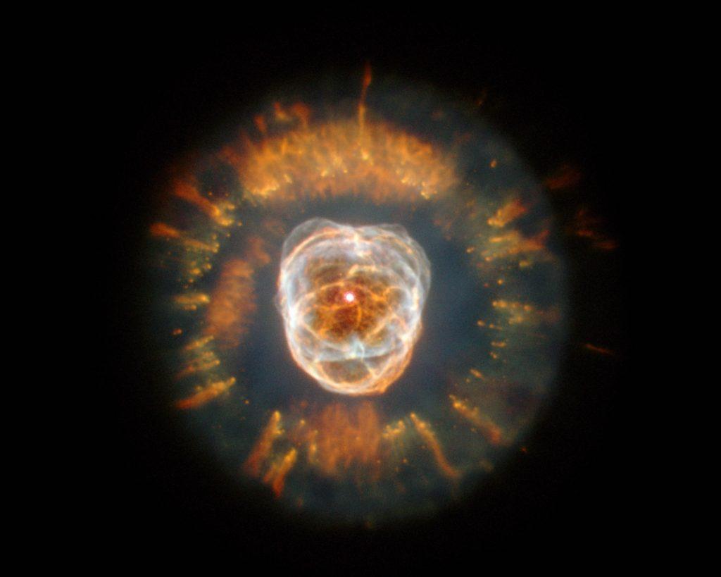 """NGC 2392 (""""Eskimo"""" Nebula) HST WFPC2 [NII]; H-alpha; [OIII]; [HeII]"""