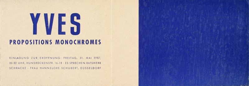 Carta de invitación a la muestra Yves, Propositions monochromes. Düsseldorf, 1957