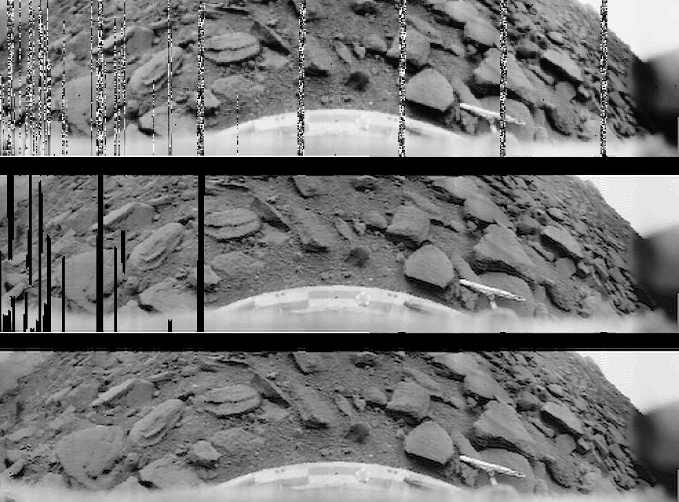 """Venera 9 image of Venusian surface (1975). 174-degree raw 6-bit logarithmically encoded telemetry seen above. Linearized and aperture corrected view in center, including data from a second 124-degree panorama. Bottom image had missing portions in-painted with Bertalmio's algorithm. Web site description Venera 9 sent image telemetry for 50 minutes, before burning up. It scanned 174¼ of the panorama from left to right, and then 124¼ scanning right to left. The upper image is the raw 6-bit telemetry, about 115 by 512 pixels. Automatic gain control and logarithmic quantization were used to handle the unknown dynamic range of illumination. The raw image was converted to optical density according to Russian calibration data, then to linear radiance for image processing. It was interpolated with windowed sinc filter to avoid post-aliasing (a """"pixilated"""" appearance), and the modulation transfer function (""""aperture"""") of the camera was corrected with a 1 + 0.2*frequency**2 emphasis. This was then written out as 8-bit gamma-corrected values, using the sRGB standard gamma of 2.2. Some of the telemetry bars on the right were replaced with data from the second section of image. The bottom image is digitally in-painted, using Bertalmio's isophote-flow algorithm, to fill in missing data."""