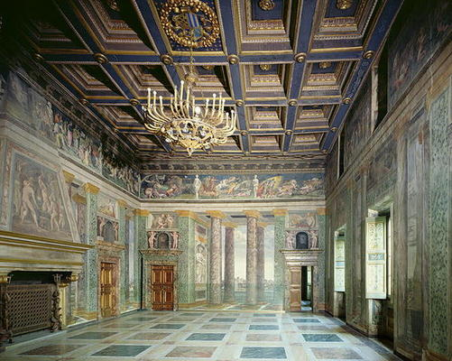 BEN107218 The 'Sala delle Prospettive' (Hall of Perspective) designed by Baldassarre Peruzzi (1481-1536) c.1510 (photo); Villa Farnesina, Rome, Italy; copyright unknown